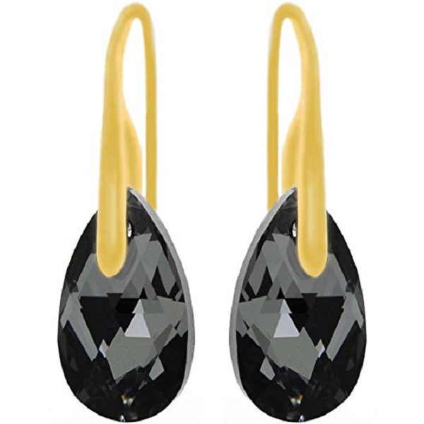Royal Crystals 24CT Yellow Gold Plated Sterling Silver Black Grey Teardrop Hook Pierced Earrings with Swarovski Crystals